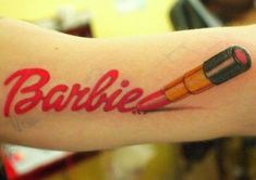 Who would of thought a barbie tattoo could be so awesome??? check out more here!! #tattoo #barbie