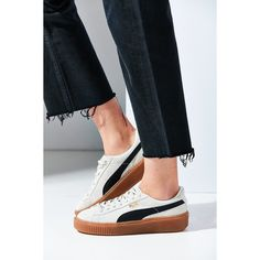 Puma Basket Suede Platform Sneaker ($100) ❤ liked on Polyvore featuring shoes, sneakers, low top, low profile sneakers, puma trainers, creeper sneakers and creeper shoes