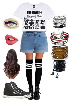 Untitled #140 by fangirlmuch on Polyvore featuring polyvore, fashion, style, Forever 21, Pieces, Boohoo, Superga, Sif Jakobs Jewellery, Domo Beads, Funk Plus and Charlotte Tilbury