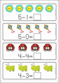 Kindergarten Math Centers - SPRING. 137 pages in total. A page from the unit: Subtraction cards (1-10)