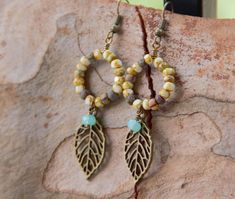 Czech Cut Seed Beads and Leaf Charm Earrings, Faceted Rondelle Beads Earrings, Circle Earrings