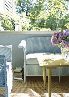 Painted wicker furniture.