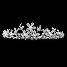 Fine Alloy With Rhinestone And Pearl Flower Bridal Tiara – USD $ 14.69
