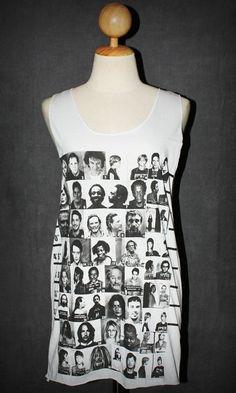 All Stars White Tank Top Singlet Sleeveless Women Art Indie Rock T-Shirt Size S