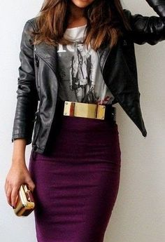 Cute Street Fashion With Silver I love the plum color skirt I would wear this every chance I've got to wear a skirt =)
