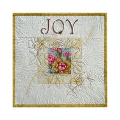 Quilt+wall+hanging+JOY++Shabby+Chic+by+thebutterflyquilter+on+Etsy Longarm Quilting, Free Motion Quilting, Machine Quilting, Quilting Projects, Quilting Designs, Machine Embroidery, Art Quilting, Quilting Ideas, Hanging Quilts