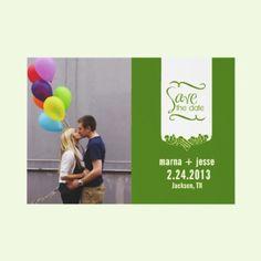 Lime Green Custom Photo Save the Date Cards Custom Invites