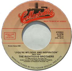 Soul and Inspiration by The Righteous Brothers.  This was playing during my first real kiss.