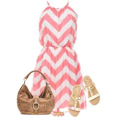 Cute Summer Dress in coral chevron sandal and summer tote