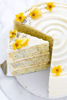 May 2019 - Lemon Poppyseed Cake. A tender layer cake recipe brightened with lemon juice, lemon zest and poppy seeds, frosted with a tangy sweet lemon cream cheese frosting. Just Desserts, Delicious Desserts, Dessert Recipes, Easter Desserts, Easter Recipes, Spring Desserts, Recipes Dinner, Yellow Desserts, Fancy Recipes