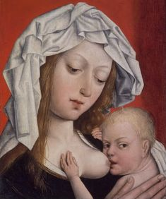 Madonna Nursing the Christ Child, Master of the Magdalen Legend (Flemish, active in Brussels, late 15th-16th century), c. late 15th century. Tempera on oak panel, 9 3/16 x 7 3/16 x 1/4 in. (23.3 x 18.3 x 0.6 cm). Brooklyn Museum.