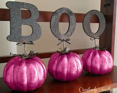 From a local craft store: artificial pumpkins, large letters and glitter blast spray paint. From a local craft store: artific Glitter Paint Pumpkins, Pink Pumpkins, Painted Pumpkins, Glitter Blast Spray Paint, Pumpkin Sculpting, Halloween 1st Birthdays, Pink Halloween, Halloween Pumpkins, Artificial Pumpkins