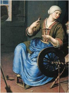 "century working class: c. Detail of ""The Spinner"" by Willem van Mieris (Dutch, 1662 - Women -- Clothing & dress -- -- Netherlands. 18th Century Clothing, 18th Century Fashion, Web Gallery Of Art, 18th Century Costume, Spinning Yarn, Working Woman, Portraits, Historical Clothing, Fine Art"