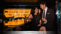 01-sls-hotel-beverly-hills-engagement-photographer couple enjoying a glass of wine at the bar