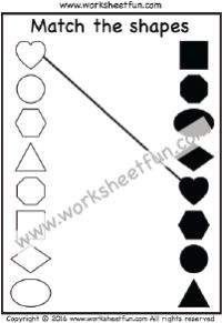 Match the shapes – Heart, Circle, Square, Triangle, Hexagon, Octagon, Oval, Rectangle and Diamond – One Worksheet
