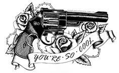 tattoo design all drawn with black fineliner except font added in photoshop #illustration #tattoo #tattooideas #gun #roses