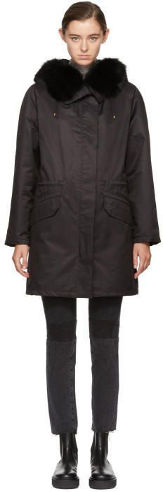 Yves Salomon - Army Black Fur-Lined Classic Long Parka