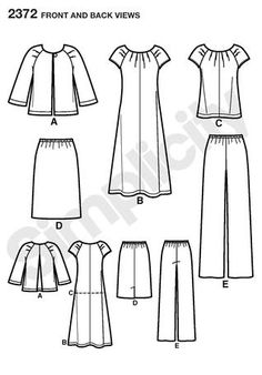 Simplicity 2372 Misses' & Plus Size Sportswear Line Drawing. The top is the same as a Tommy Hilfiger top I found except where the pleats are it's gathered. Made of gauze, it hangs nicely and is very comfortable.
