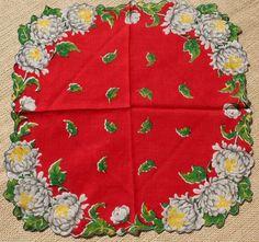 Vintage Hankie Handkerchief Red Handkerchief Chrysanthemums