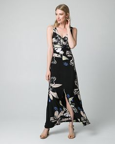 Floral Print Knit Maxi Dress - Beautiful blooms lend eye-catching appeal to a feminine maxi dress finished with ring details along the shoulder straps and a striking front slit.