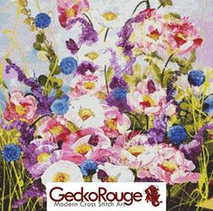 Modern Cross Stitch Kit Butterflies and Peonies Counted Cross Stitch www.GeckoRouge.co.uk