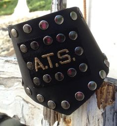 matte BLACK leather CUFF bracelet studded with ATS military inspired by whackytacky, $45.00