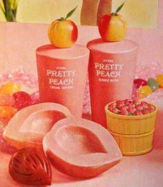 Avon 'Pretty Peach' Soap, Lotion, Cream Sachet and Bubble Bath, 1966