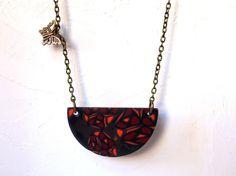 Necklace handmade polymer clay polished.  Colgante hecho a mano de arcilla polimérica pulida.