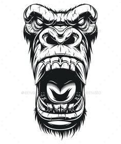 Vector graphics Install any size without loss of quality. ZIP archive contains:. - Vector graphics Install any size without loss of quality. ZIP archive contains: 1 -file 1 - Gorilla Tattoo, Head Tattoos, Body Art Tattoos, Tattoo Sleeve Designs, Sleeve Tattoos, Tattoo Sketches, Tattoo Drawings, Monkey Tattoos, Totenkopf Tattoos