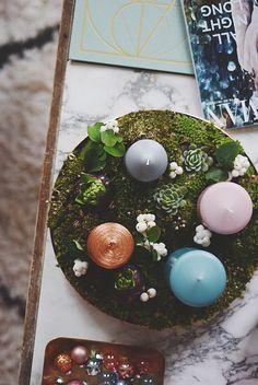 Adventskrans med hyacinter & sukkulenter | Emily Salomon