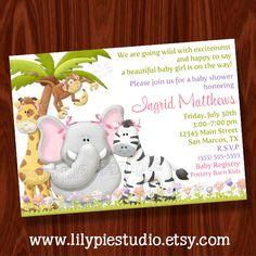 Jungle Girl Baby Shower Invitation PRINTABLE Digital File. $14.00, via Etsy.