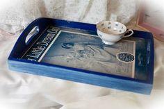 Vintage sheet music decoupage decorative tray