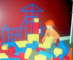 Use painters tape to outline the shape of blocks on the wall for an easy blue print/ block matching activity.
