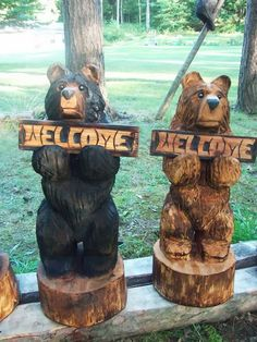 30 Chainsaw Carved Bear Holding a Carved Welcome Sign