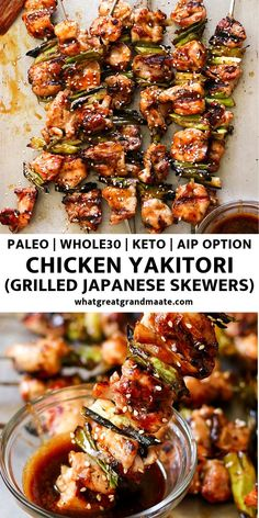 Paleo Chicken Yakitori aka Japanese Chicken Skewers Keto, AIP Option) - Chicken Recipes - This healthy and low carb version of paleo chicken yakitori is super flavorful, while being easy to make. It's the perfect and keto summer grilling recipe! Clean Eating Recipes For Dinner, Clean Eating Snacks, Recipes Dinner, Healthy Summer Dinner Recipes, Dessert Recipes, Summer Entrees, Healthy Eating, Pollo Yakitori, Chicken Yakitori Recipe