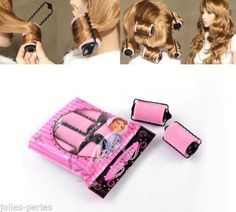 """JP 1 Packet(6PCs)Pink Hair Rollers Curlers Hair Tools 8.3x4.5cm(3 2/8""""x1 6/8"""")"""