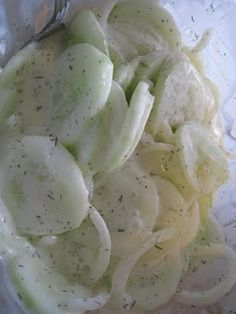 1/2 cup sour cream 1/2 cup mayo. 1/4 cup vinegar and sugar. 1/4 tsp salt. Slice cucumbers and drain in a colander with light salt for a couple hours.  Mix other ING add cukes