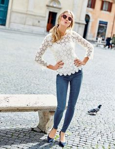 Floral Lace Top WA667 Long Sleeved Tops at Boden