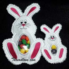 Easter Embroidery Designs - Easter Bunny Bag - In The Hoop Project - Step by step instructions with photos.  Fill with candy and enjoy!