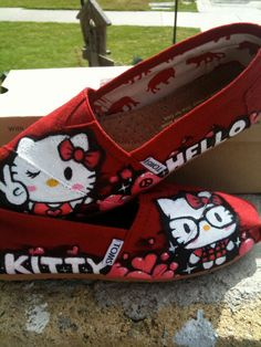 ___Hello Kitty___  CUSTOM PAINTED SHOES  ----MADE TO ORDER---  (This Is Just an Example)  of some custom painted shoes...  I paint on Vans, Toms,  are