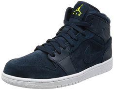 the latest a6ad9 33bd4 Jordan Nike Men s Air 1 Mid Armory Navy ElectroLime White Basketball Shoe 12  Men US