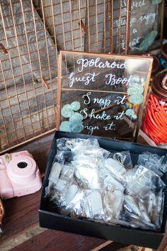 Polaroid Guest Book Oak Barn Wedding Matilda Delves Photography #Polaroid #GuestBook #Wedding