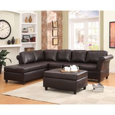 The Levan Living Room Collection makes it a versatile choice for a number of living room settings. The rolled-arm sectional allows for maximum seating in a minimal amount of space. This comfortable seating arrangement is covered in dark brown bi-cast vinyl.