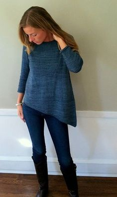 A sweet little everyday sweater with a twist! The slanted hem gives it a bit of kick while the stockinette keeps it classic and wearable. Knit pattern
