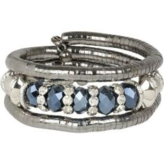 """Heirloom Finds Gunmetal Wrap Bracelet with Faceted Black Beads Silver and Crystal Accents Heirloom Finds. $18.99. Makes a great gift! Arrives gift boxed!. Perfect for stacking or wearing alone!. This coil bracelet measures 7"""" around so will fit 6"""" - 9"""" wrists and is 1"""" wide.. Fashion past meets fashion forward with this bling hematite coil bracelet!. Rejuvenate your wardrobe with a new bracelet!"""