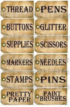 Items similar to 12 Sewing Room Studio Supplies Tags - label Uprint thread Digital Sheet storage supply button paper vintage organize on Etsy Sewing Hacks, Sewing Crafts, Sewing Projects, Organizing Sewing Rooms, Craft Organization, Craft Storage, Sheet Storage, Storage Baskets, Arts And Crafts