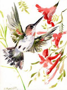 Hummingbird, watercolor by Suren Nersisyan