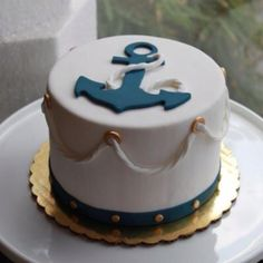 Anchor cake for baby shower? Just needs words!(: