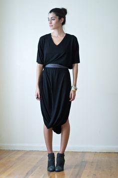 Oversized Black Midi Dress Tunic / Maternity Dress - Model 51-1