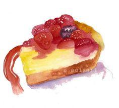 SALE Very Berry Cake Tart Slice  Original Watercolor by aoisart, $15.00